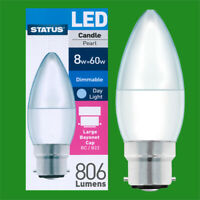 2x 8W (=60W) LED DIMMABLE 6500K Daylight Pearl Candle Light Bulbs BC B22 Lamp