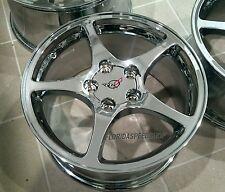 """Chrome C5 Thin Spoke Style Corvette Wheels 17/18"""" Combo 17x8.5/18x9.5 Set"""