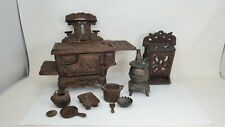 Antique Cast Iron Salesman Sample Stove W/ Accessories Potbelly Match Holder