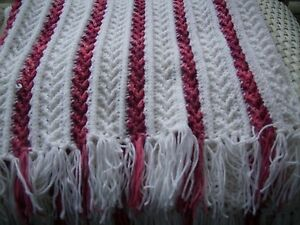 Crochet afghan baby toddler Textured stripe white with pink varigated