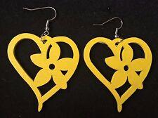 Boho Hippy Gypsy Vintage 70s Style Yellow Flower Heart Wood Earrings ~ free post