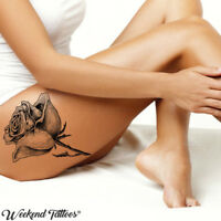 Big Large Full Black Roses Flower Temporary Tattoo Body Leg Back Rose Tatoo