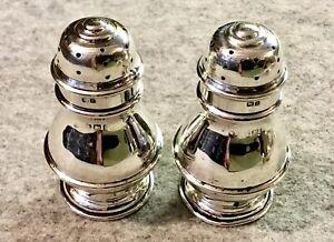 Pair Antique Silver Pepper Pots Birmingham Hallmarks 1905 Salt & Pepper ?