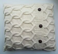 Cream Cushion Cover Handmade Knitted Aran Cable Knit Design 40cm /16 inch Square