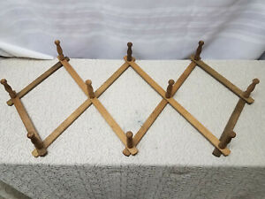 Wood Rack Wall Hanger Expandable Folding Accordion Mug Coat Hat 10 Peg Vintage