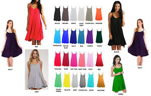 Ladies Camisole Cami Flared Skater Womens Strappy Vest Top Swing Mini Dress 6-26