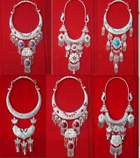 Retro exaggerated Tribe exotic chinese handmade miao silver necklace 1piece