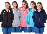 Ladies Plus Size Hoodies Branded Plain Zipper Hooded Top Sweatshirt 18 to 32