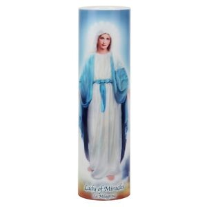 Lady of Miracles Religious Saint LED Flameless Prayer Candle W/6-Hour Timer