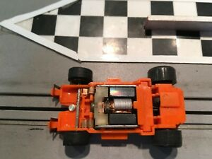 HO  SLOT CAR Marchon MR-1 orange race chassis, drag strip tested 15 MPH