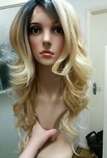 Blonde Human Hair Wig, Real Hair, side fringe, Ombré, Dark Roots Lace Front