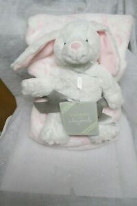 """NWT""""Blankets &Beyond"""" Pink/White Bunny and Blanket(30"""" x 36"""")"""