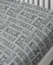 FOOTBALL SOCCER GOAL TACKLE GREY COTTON BLEND SINGLE 90X190+30CM FITTED SHEET