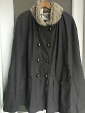 Kimchi Blue Gray Cape With Faux Fur Collar, L, NWT!