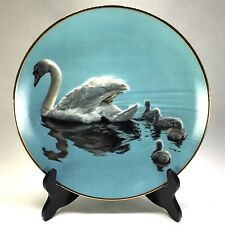 Vtg Following Mama Ron Parker Hamilton Collection Winged Reflections Swan Plate