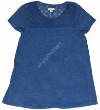 New Women's Blue NWT Liz Lange Maternity Short Sleeve Top Tunic Shirt Size XS