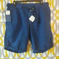 ZARA MAN Shorts Mens US Size 32 Belted Linen Blend Blue Woven Shorts New NWT