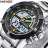 Fashion Stainless Steel Date Sport LCD Digital Quartz Analog Men's Wrist Watch