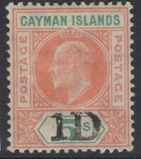 Isole Cayman SG19 1907 1d il 5/- salmone & verde menta MTD