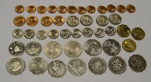 45 Australian Decimal coins, mostly Brilliant Uncirculated from mint rolls.