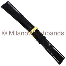 19mm Milano Black Genuine Crocodile Padded Stitched Mens Watch Band Long 855