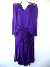 Vintage 80s FLAPPER DRESS Drop Waist Beaded Deco PURPLE Slouchy Draped Cocoon XL