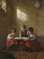 """perfect oil painting handpainted on canvas""""three girls  reading a  book""""@N5723"""