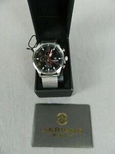 Akribos XXIV Men's AK784SSB Analog Display Swiss Quartz Silver Watch NEW