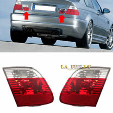 Pair of Red Clear Inner Tail Lights Lens For 2002-2005 BMW 3-Series E46 4-DOOR