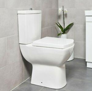 Modern Square Ceramic Toilet Close Coupled Bathroom Pan & Seat WC (1014)