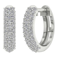 SI1 G 0.50 Ct Natural Diamond Hoops Earrings 14K Solid Gold Pave Set 0.51 Inch
