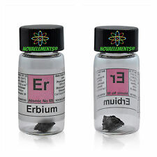 1 gram 99,95% Erbium metal element 68 Er sample piece in labeled glass vial