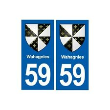 59 Wahagnies blason autocollant plaque stickers ville arrondis