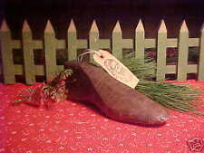 1800's Antique Early Primitive hand carved Child's Wood Xmas Shoe Mold Form aafa
