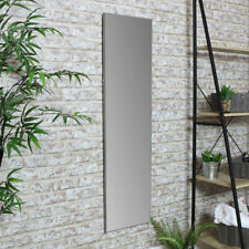 Tall full length wall mounted mirror grey frame slim bedroom dressing room home