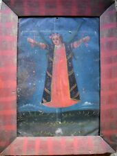 Antique 19th C. Spanish Colonial Painting/ Retablo on tin - Santa Librata
