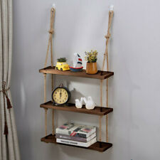 Decorative Hanging 3 Tier Natural Wood Floating Wall Shelves with Jute Rope *