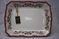 AUTHENTIC EUROPEAN FINDS XL FLORAL SCROLLS PLATTER TRAY-RED/GREEN-MADE IN ITALY