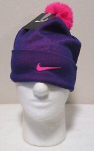 NWT Nike Youth Girls Winter Cuffed Pom Beanie Hat 7/16 Court Purple MSRP$20