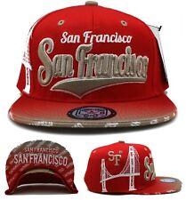 San Francisco New Leader Skyline Bridge 49ers Red DEFECT Era Snapback Hat Cap