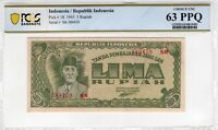 Indonesia 1945 5 Rupiah PCGS Banknote Certified UNC 63 PPQ Choice Pick 18