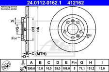2x Bremsscheibe für Bremsanlage Hinterachse ATE 24.0112-0162.1