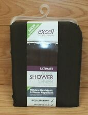 Genuine Excell Dark Brown Ultimate Fabric Shower Liner w/ Magnetic Hem