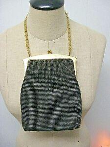 VTG Whiting & Davis Metal Mesh Purse Hand Bag Whiting Davis Black gold mesh bag