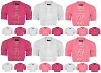 Girls Crochet Bolero Shrug Kids Knitted Short Sleeve Cardigan New Age 7-13 Years