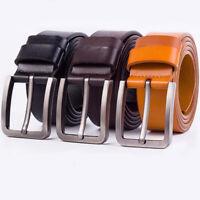 Classic Mens Genuine Leather Belt Metal Pin Buckle Waist Waistband Belts Strap