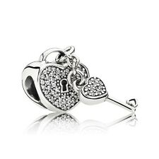 Authentic Pandora Charm 791429CZ Lock of Love w/ Clear Cz