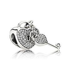 Authentic Pandora Charm 791429CZ Lock of Love w/ Clear Cz