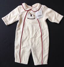 NWT Janie & Jack 0-3 Month Nostalgic Holiday Quilted Rocking Horse Velour Romper