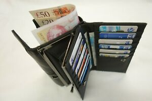 Ladies Soft Leather Purse Wallet Black Extra Large Size with Coin Pocket